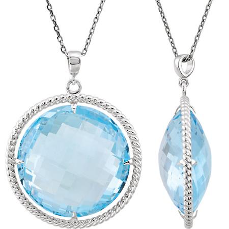 Sterling Silver Round Sky Blue Topaz Necklace