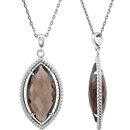 Sterling Silver Marquise Smoky Quartz Necklace