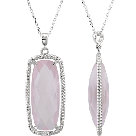 Sterling Silver Cushion Rose Quartz Necklace
