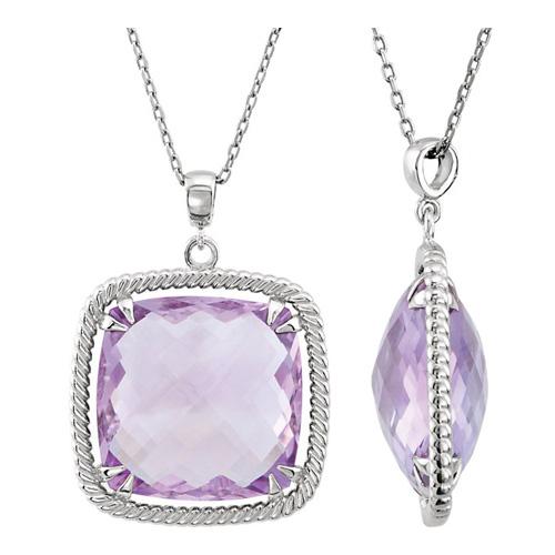 Sterling Silver Rose de France Quartz Necklace