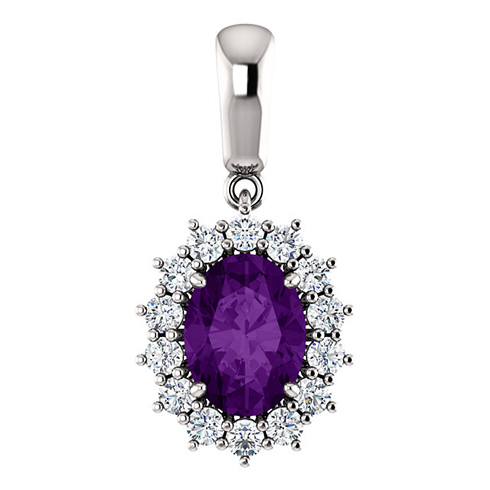 14kt White Gold 1.2 ct Oval Amethyst Halo Pendant with 1/3 ct Diamonds