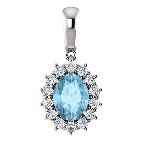 14kt White Gold 1.15 ct Oval Aquamarine Halo Pendant with 1/3 ct Diamonds