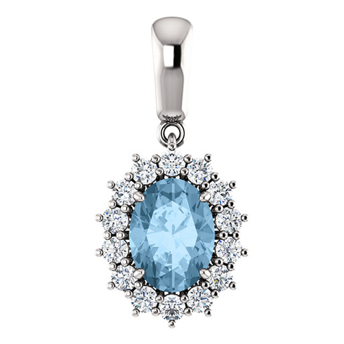 14kt White Gold 1.6 ct Oval Sky Blue Topaz Halo Pendant with 1/3 ct Diamonds
