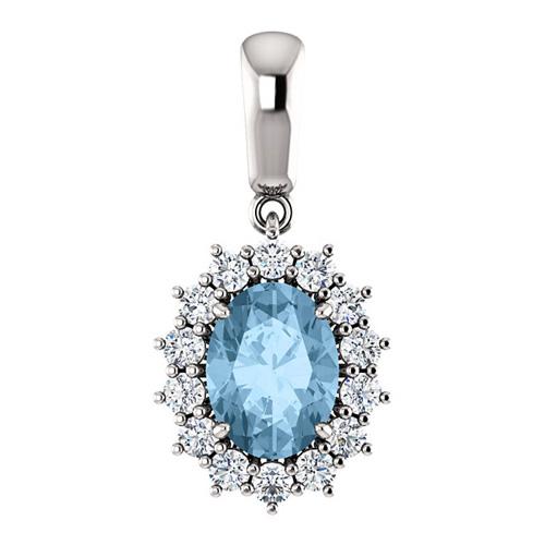 14k White Gold 1.6 ct Oval Sky Blue Topaz Halo Pendant with Diamonds