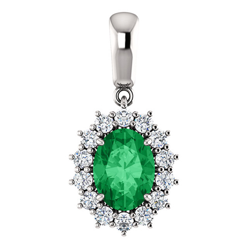 14k White Gold 1.15 ct Oval Created Emerald Halo Pendant with Diamonds