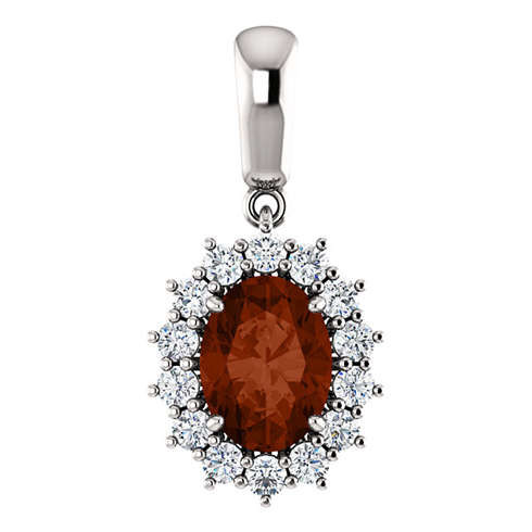 14kt White Gold 1.5 ct Oval Garnet Halo Pendant with 1/3 ct Diamonds