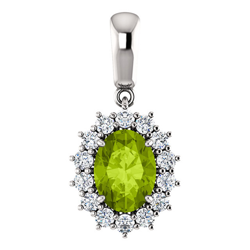 14kt White Gold 1.35 ct Oval Peridot Halo Pendant with 1/3 ct Diamonds