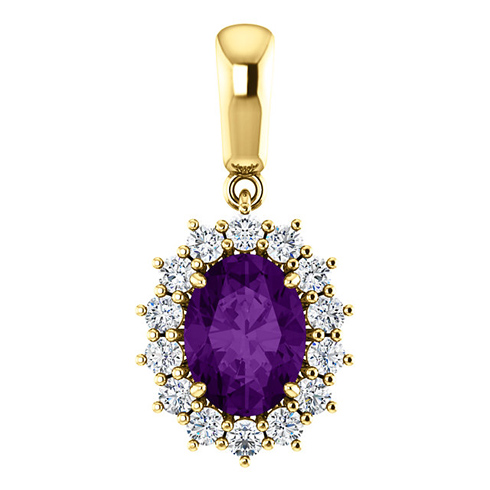 14kt Yellow Gold 1.2 ct Oval Amethyst Halo Pendant with 1/3 ct Diamonds