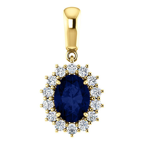 14kt Yellow Gold 1.75 ct Oval Created Sapphire Halo Pendant with 1/3 ct Diamonds