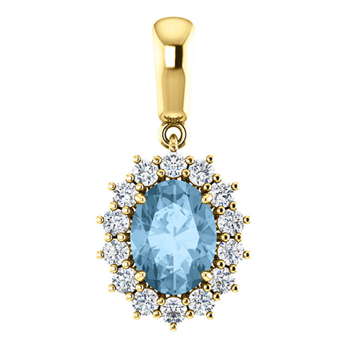 14kt Yellow Gold 1.6 ct Oval Sky Blue Topaz Halo Pendant with 1/3 ct Diamonds