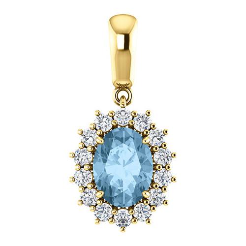 14k Yellow Gold 1.6 ct Oval Sky Blue Topaz Halo Pendant with Diamonds