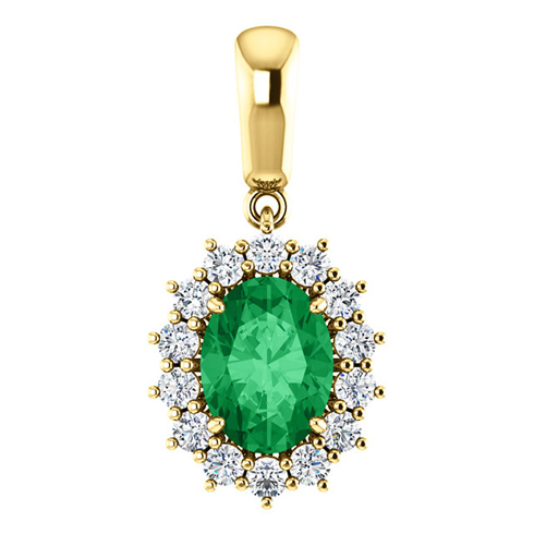 14kt Yellow Gold 1.15 ct Oval Created Emerald Halo Pendant with 1/3 ct Diamonds