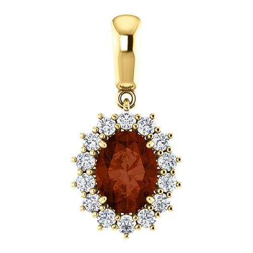 14kt Yellow Gold 1.5 ct Oval Garnet Halo Pendant with 1/3 ct Diamonds
