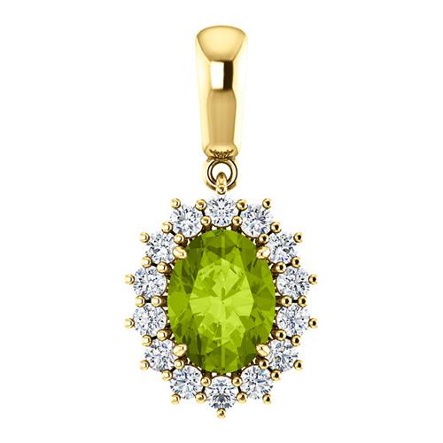14kt Yellow Gold 1.35 ct Oval Peridot Halo Pendant with 1/3 ct Diamonds
