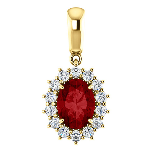 14kt Yellow Gold 1.75 ct Oval Created Ruby Halo Pendant with 1/3 ct Diamonds