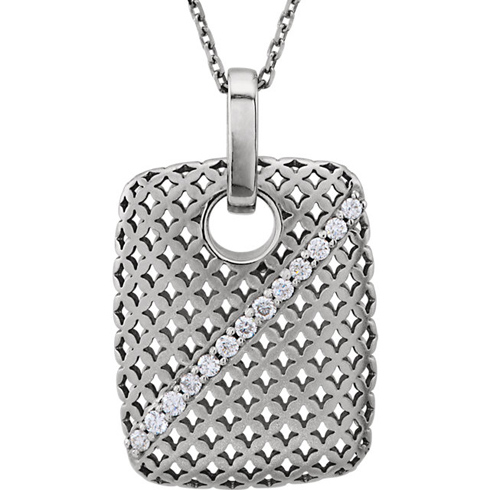 14kt White Gold 1/8 Ct Diamond 18in Necklace