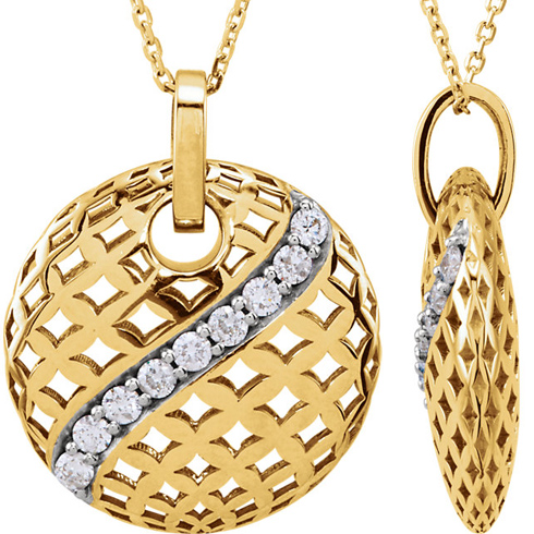 14kt Yellow Gold 1/4 Ct Diamond 18in Necklace