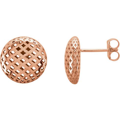 14kt Rose Gold Mesh Button Earrings