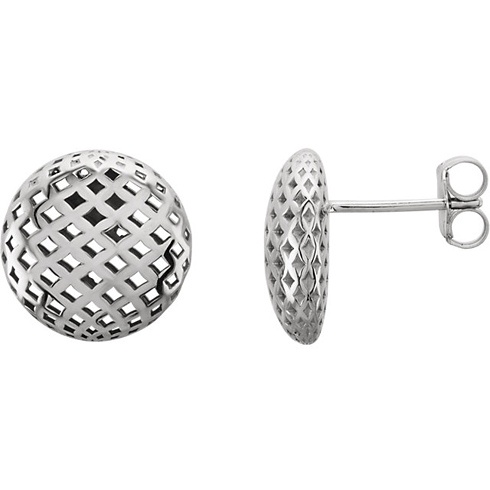 14kt White Gold Mesh Button Earrings