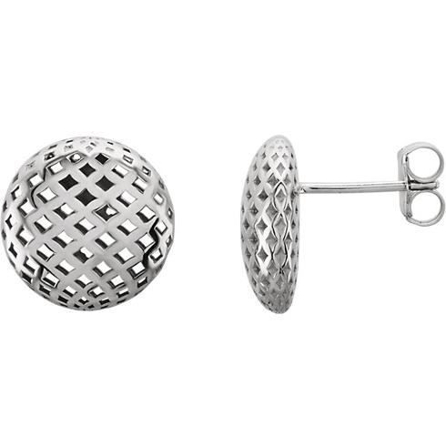 14kt White Gold Mesh Button Earrings