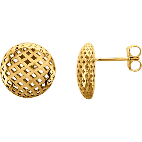 14kt Yellow Gold Mesh Button Earrings