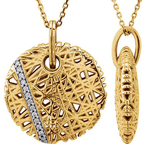 14kt Yellow Gold 1/20 Ct Diamond Nest Design 18in Necklace