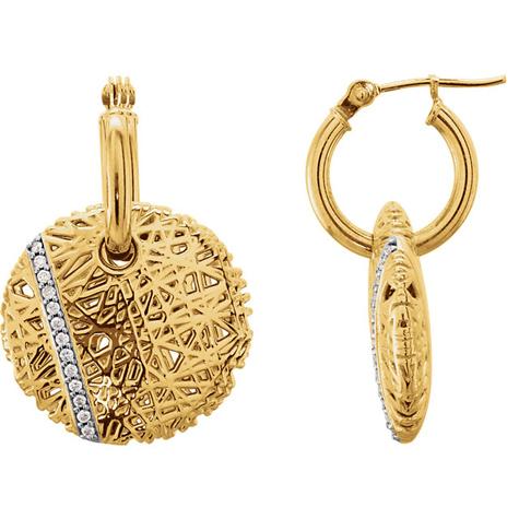 14kt Yellow Gold .06 ct Diamond Nest Hoop Earrings