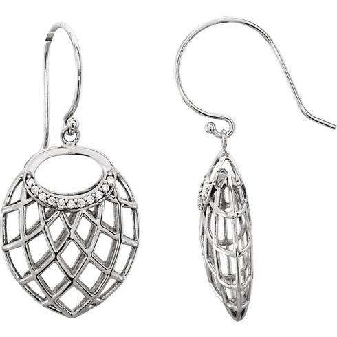 14kt White Gold .06 ct Diamond Dangle Earrings