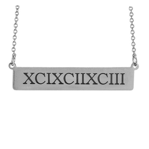 Sterling Silver Roman Numeral Bar 17in Necklace