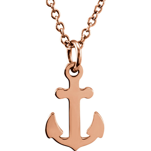 14kt Rose Gold TinyPosh Anchor 18in Necklace