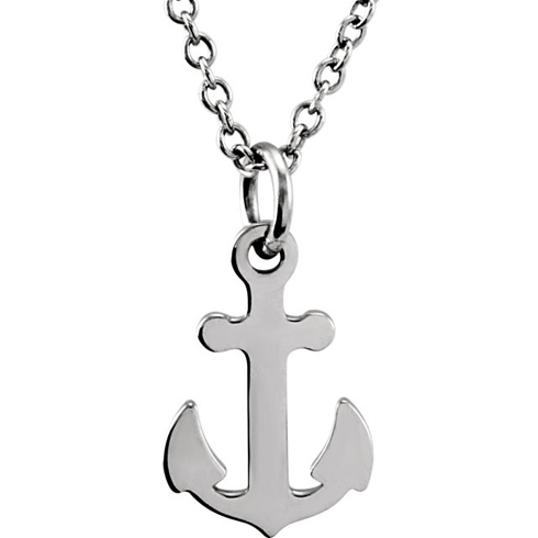14kt White Gold TinyPosh Anchor 18in Necklace