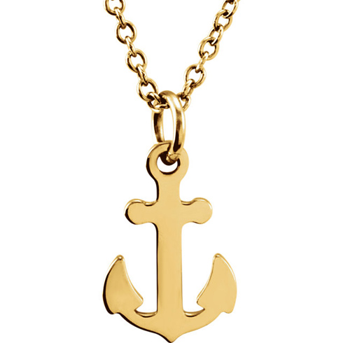 14kt Yellow Gold TinyPosh Anchor 18in Necklace