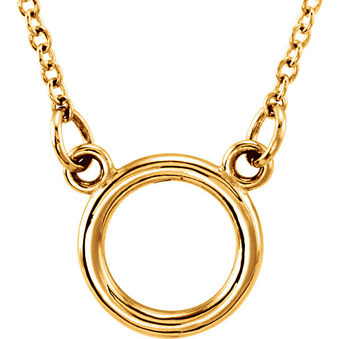 14kt Yellow Gold Tiny Posh Open Circle on 18in Necklace