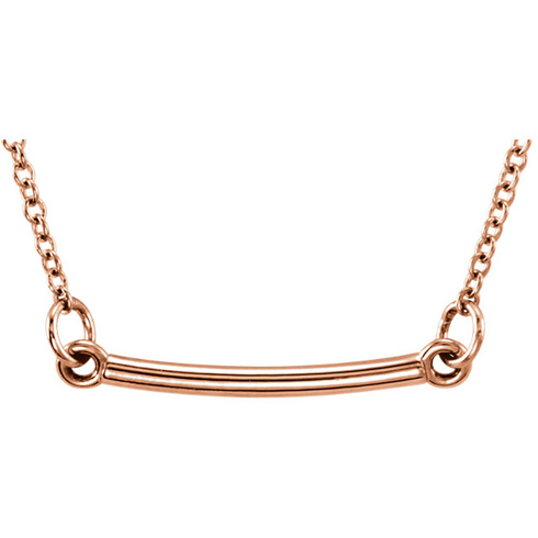 14kt Rose Gold TinyPosh Bar 18in Necklace