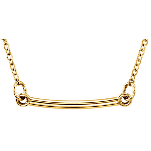 14kt Yellow Gold TinyPosh Bar 18in Necklace