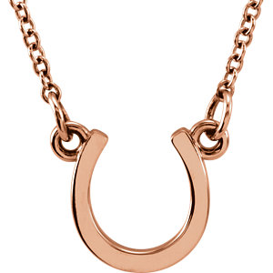 14kt Rose Gold TinyPosh Horseshoe 18in Necklace
