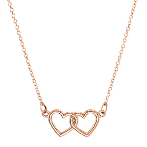 14kt Rose Gold TinyPosh Double Heart 18in Necklace