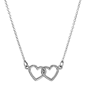 14kt White Gold TinyPosh Double Heart 18in Necklace