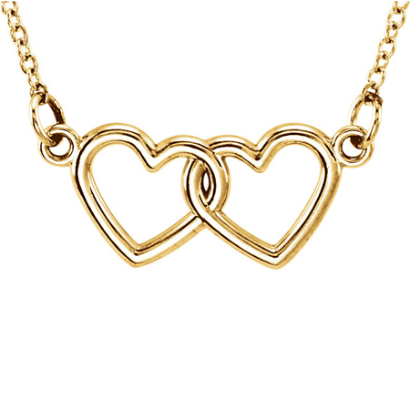 14kt Yellow Gold TinyPosh Double Heart 18in Necklace