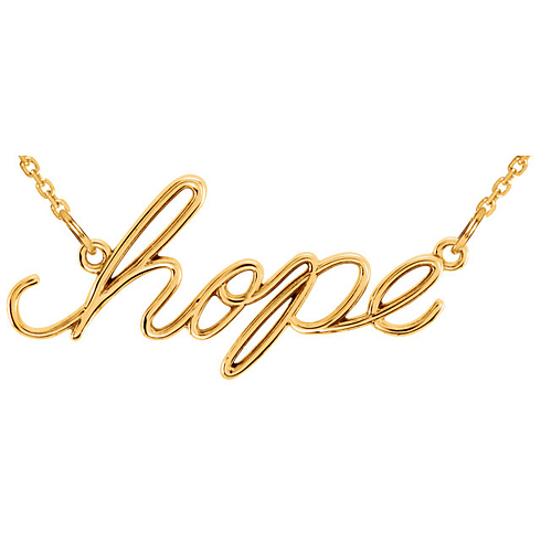 14kt Yellow Gold Hope Script 16 1/2in Necklace