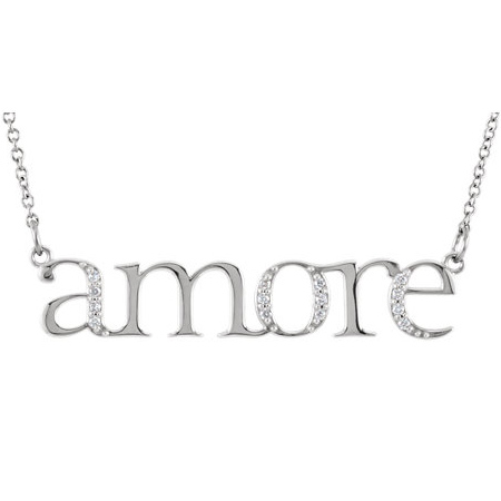 14kt White Gold .08 ct Diamond Amore 16in Necklace