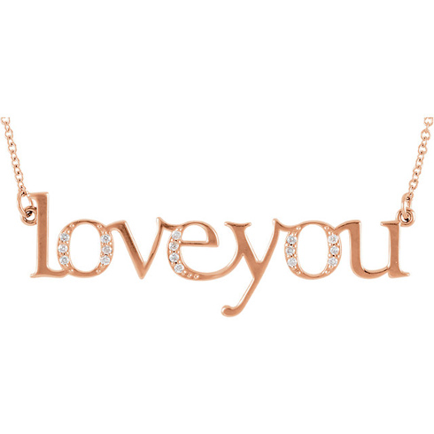 14kt Rose Gold .08 ct Diamond Love You 16in Necklace