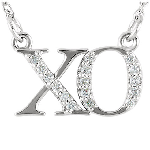 14kt White Gold .08 ct Diamond XO 16in Necklace