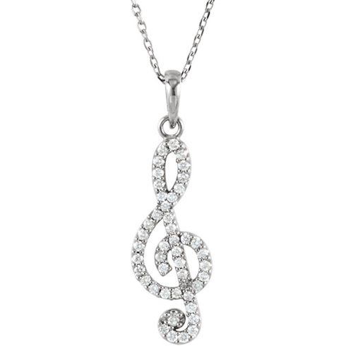 14kt White Gold 1/4 ct Diamond Treble Clef 16in Necklace