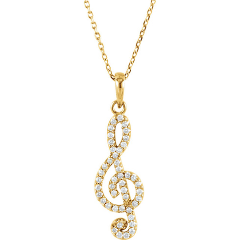 14kt Yellow Gold 1/4 ct Diamond Treble Clef 16in Necklace