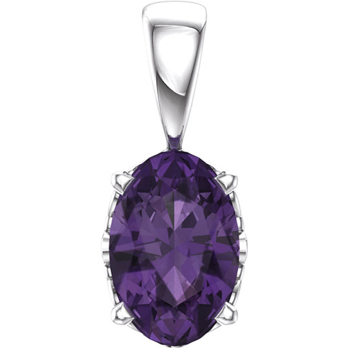 14kt White Gold .44 ct Oval Cut Amethyst Pendant