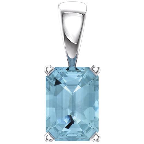 14kt White Gold .9 ct Emerald-cut Aquamarine Pendant