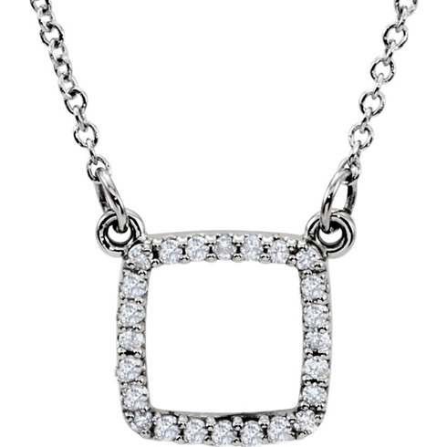 14kt White Gold 1/8 ct Diamond Cushion Square 16in Necklace
