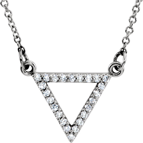 14kt White Gold 1/8 ct Diamond Triangle 16in Necklace