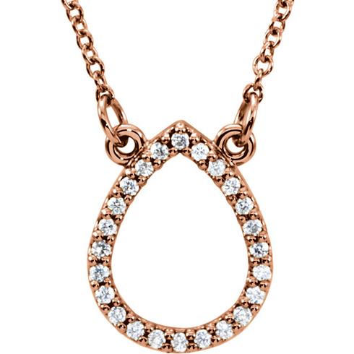 14kt Rose Gold 1/8 ct Diamond Teardrop 16in Necklace